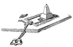 Реконструкция храма Ниусерра , выполненная Борхардтом