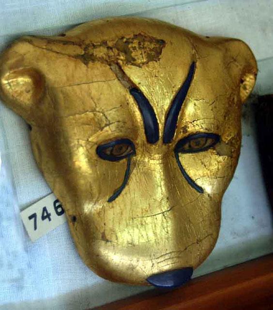 Голова леопарда. Украшение мантии. Гробница Тутанхамона.