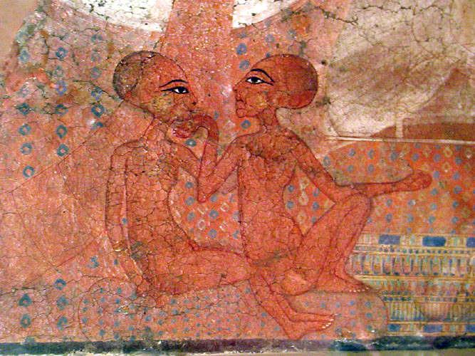 """Настенная роспись """"Царские дочери фараона Эхнатона"""". Эшмоловский музей."""