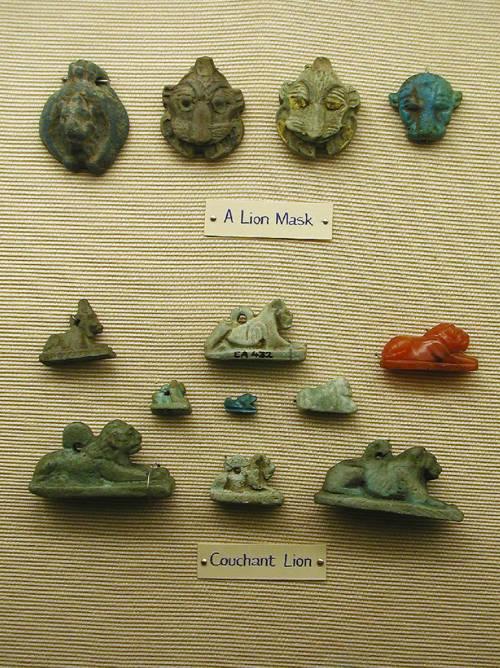 Амулеты в форме льва. Эшмоловский музей.