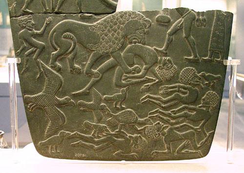 Палетка с изображением битвы. Британский музей