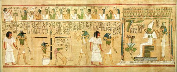 Изображение загробного суда с папируса Хунефера. Британский музей