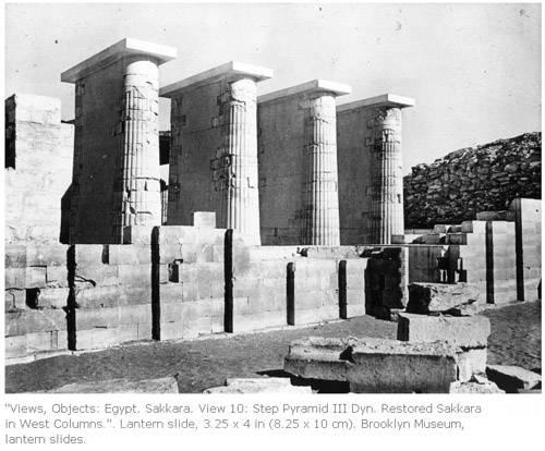 Помещение с четырьмя двойными колоннами. Погребальный комплекс фараона Джосера.