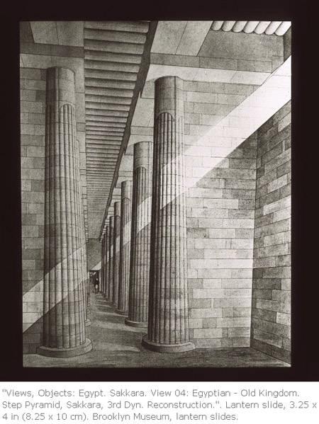 Реконструкция помещения с колоннами. Пирамида Джосера.