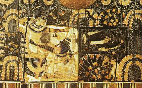 """Рельеф """"Тутанхамон на охоте"""". Каирский музей ."""