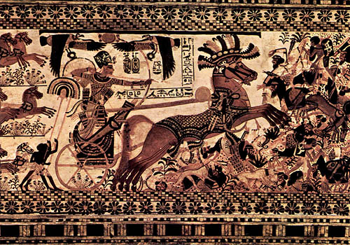 Роспись Тутанхамон на колеснице. Каирский музей .