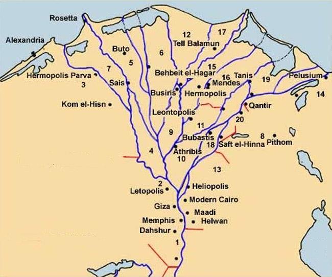 Расположение номов Нижнего Египта.