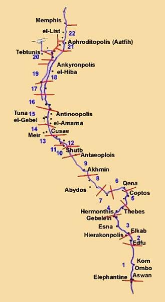 Расположение номов Верхнего Египта.