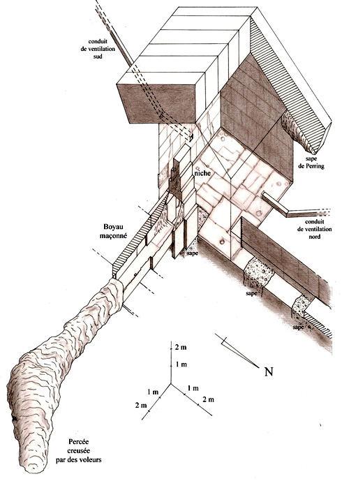 План камеры Царицы в пирамиде Хеопса с раскопом в нише.