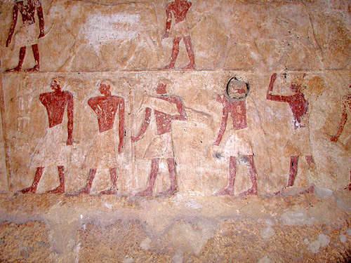 Фрески на стене гробницы Нефербауптаха.