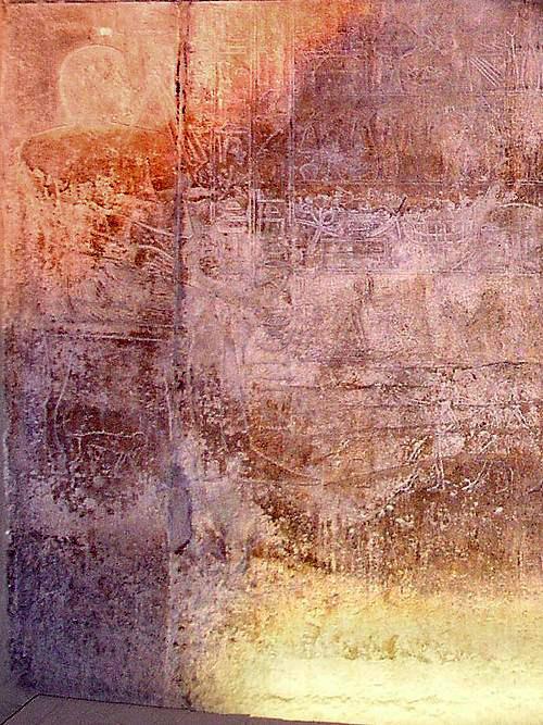 Фрески на стене мастабы Дебхена. Слева на стуле Дебхен, а под стулом обезьяна.