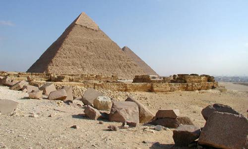 Вид на южную сторону пирамиды Хефрена.