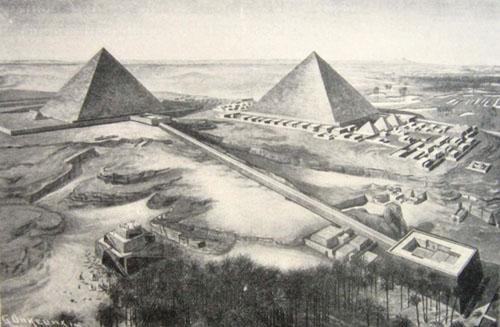 Реконструкция комплекса. Пирамида Хефрена. Uvo Holscher.