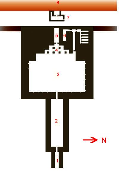 План заупокойного храма. Пирамида Микерина (Менкаура).
