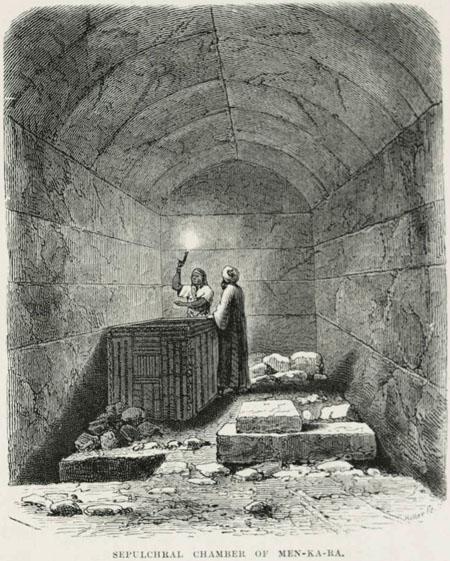 Погребальная камера с саркофагом. Пирамида Микерина (Менкаура). Strassberger - 1878 год