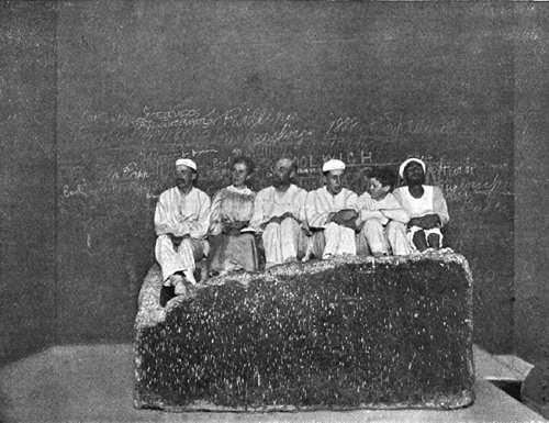 """Участники """"полуденного чаепития"""" из экспедиции братьев Мортон. Пирамида Хеопса в 1909 году."""