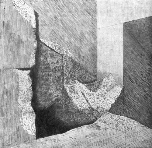 Вид на верхний вход в шахту - колодец. Пирамида Хеопса в 1909 году.