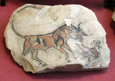 Цветной рисунок быка. Новое царство. Музей в Лувре