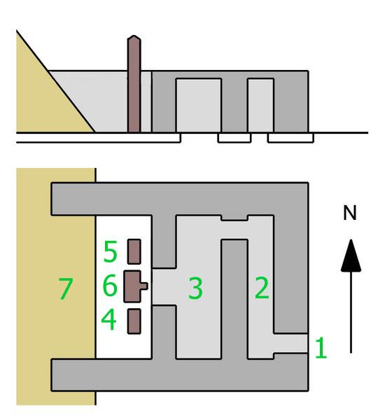 План святилища для подношений пирамиды Хуни в Мейдуме.