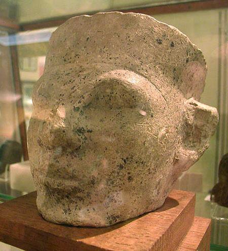 Голова царя Нармера из известняка. Музей Петри .