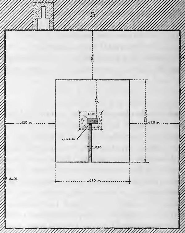 Незавершенная пирамида в Завиет-эль-Ариане. План погребального комплекса.