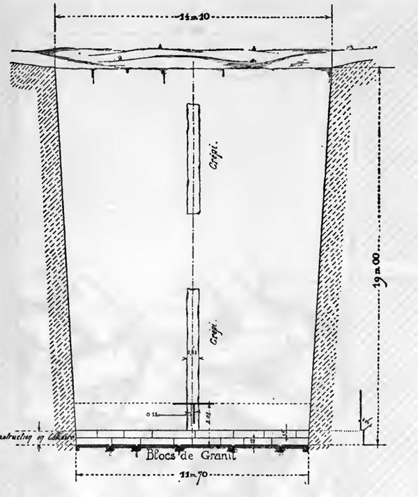 Незавершенная пирамида в Завиет-эль-Ариане. Разрез подземного коридора.