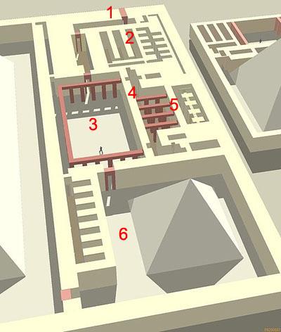 Реконструкция планировки помещений заупокойного храма комплекса Усеркафа.