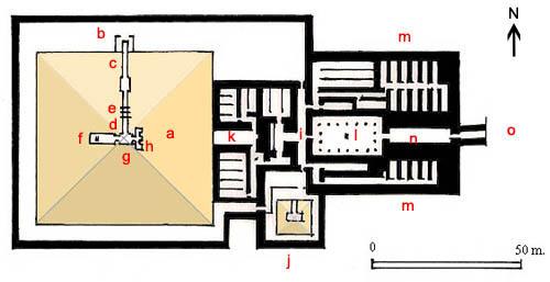 План пирамиды и заупокойного комплекса Униса.