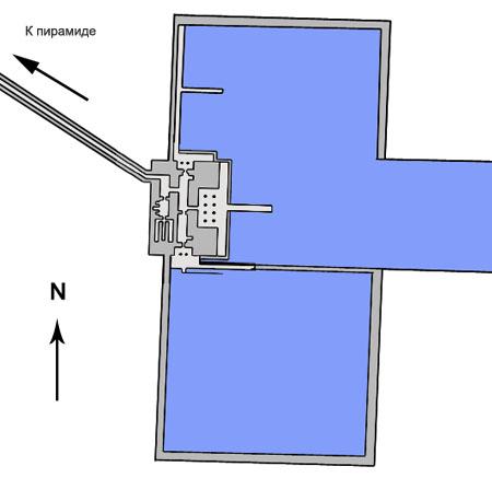 План нижнего храма пирамиды Униса в долине.