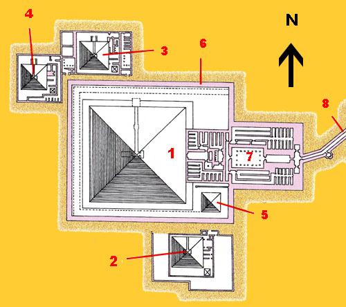 План заупокойного комплекса пирамиды Пепи II. Реконструкция выполнена Лоэром.