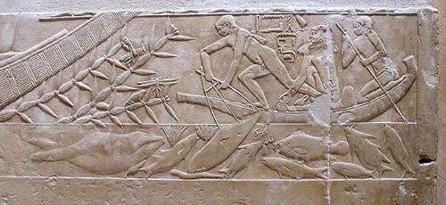 Рельеф с изображением рыбной ловли. Мастаба Кагемни.