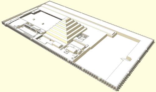 Реконструкция погребального комплекса. Пирамида фараона Джосера. Саккара.
