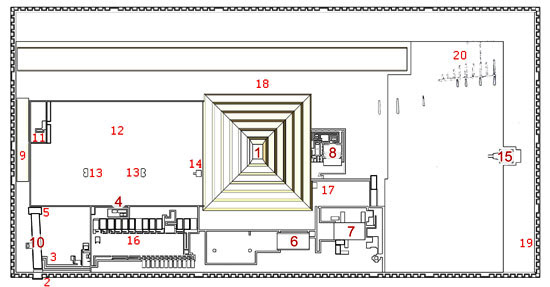 План комплекса пирамиды Джосера.