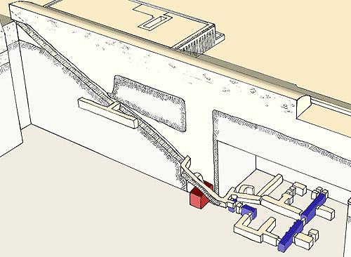 План подземных галерей вспомогательной пирамиды Джосера.