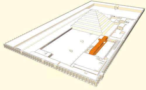 Расположение двора праздника Хеб - Сед. Комплекс ступенчатой пирамиды Джосера.