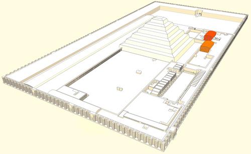 Южный и Северный дом комплекса пирамиды Джосера.