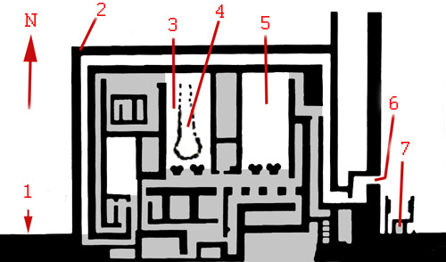 План заупокойного храма фараона Джосера. 6- вход в храм, 7- двор- сердаб со статуей фараона Джосера.