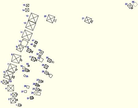 Карта расположения древних пирамид Мерое. Северное поле.